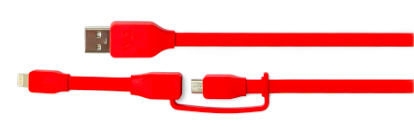 Tylt  IP5MIC12RDT Charge/Sync Cable Micro USB/Lightning 1ft Red