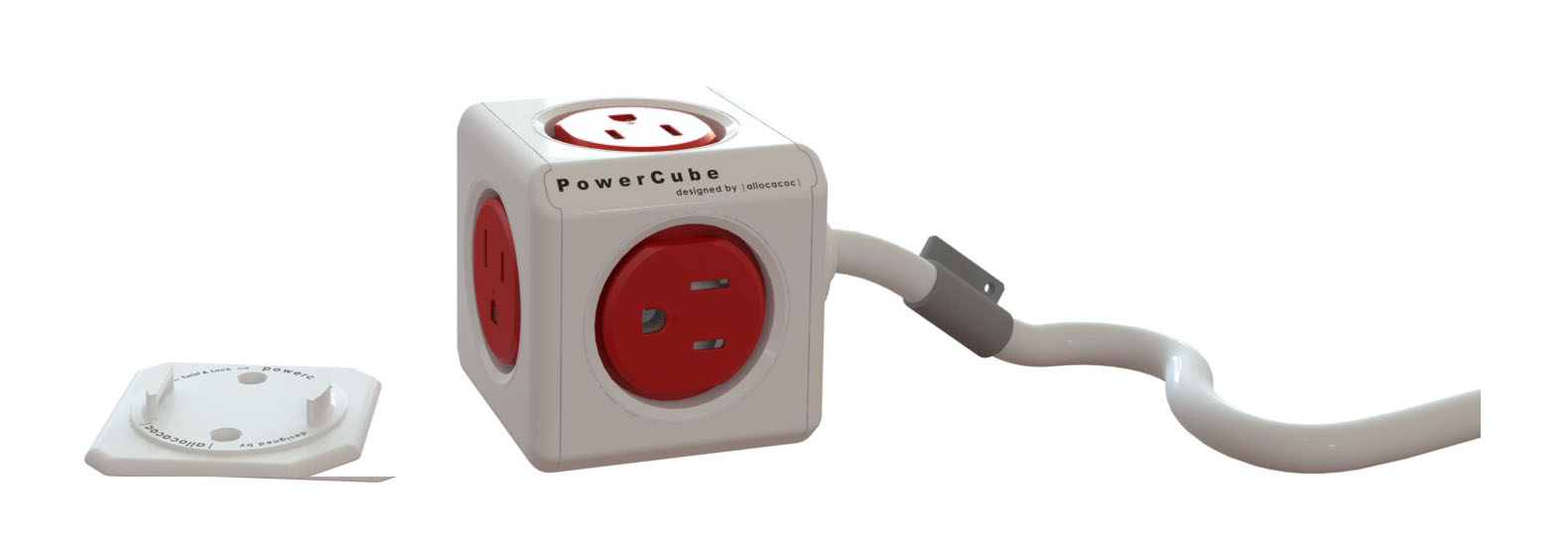 Power Cube  4300USEXPC PowerCube Extended 5 outlets 5' cord Red