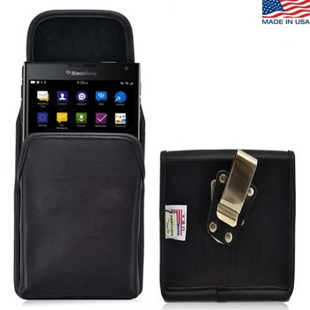 Vertical Blackberry Passport Turtleback Black Leather Holster Pouch with Flush Belt Clip - Magnetic Closure